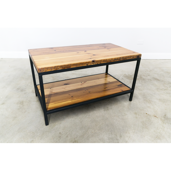 Urban Steel Coffee Table with Floating Shelf