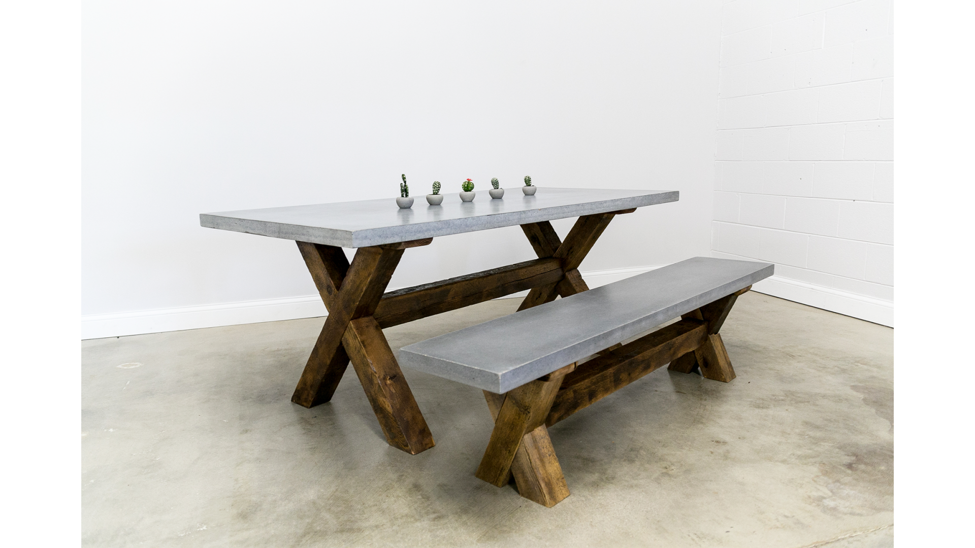 Concrete Dining Table Plus Bench