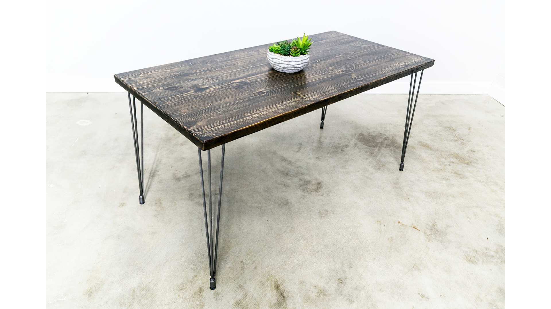 Reclaimed Dining Table with Leveling Hairpin Legs