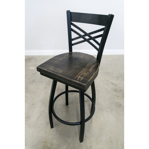 30 Inch Swivel X-Back Bar Stool (Black)