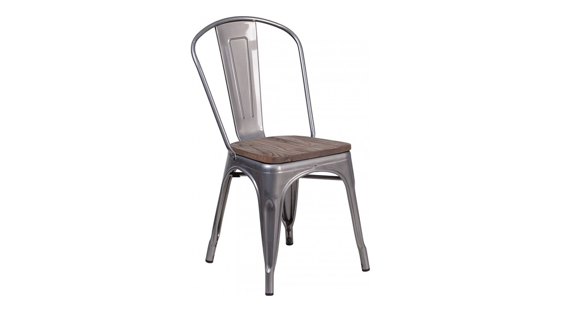 17 inch Metal Stackable Dining Chair with Wood Seat (Clear Coat)