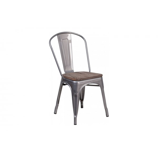 17 inch Clear Coated Metal Stackable Chair with Wood Seat