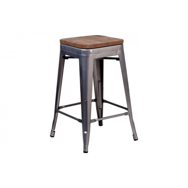 24 Inch Backless Bar Stool (Clear Coated)