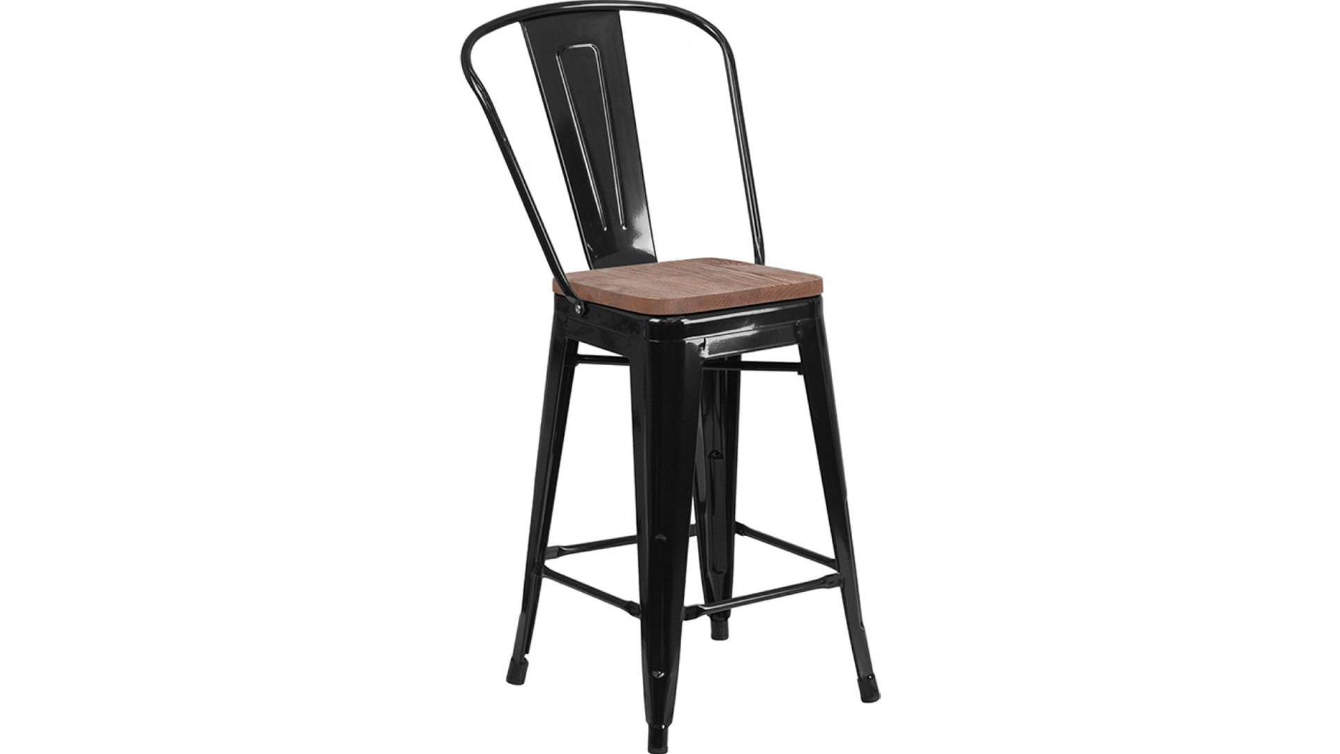 24 Inch Metal Bar Stool with Wood Seat (Black)