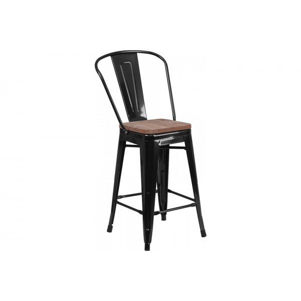 24 inch High Black Metal Counter Height Stool