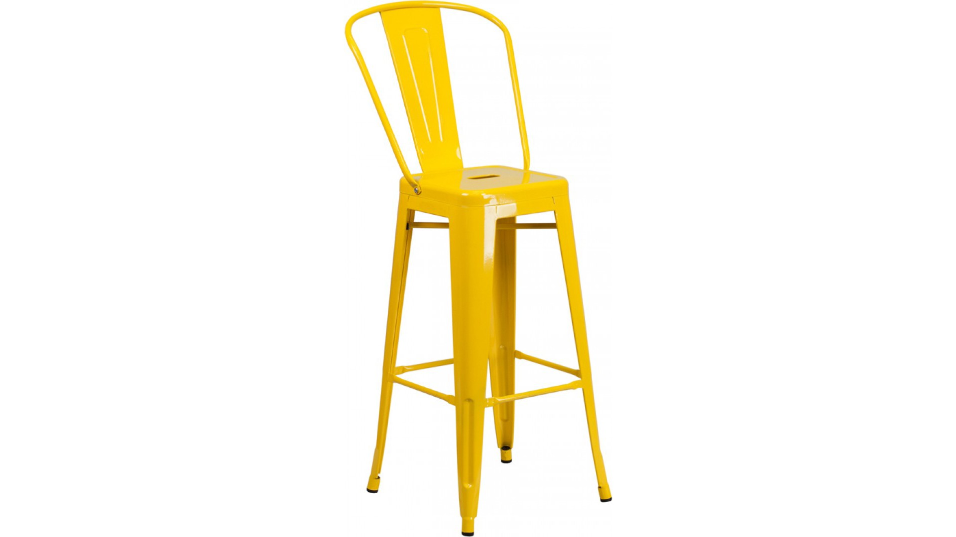 30 inch High Backless Yellow Metal Barstool