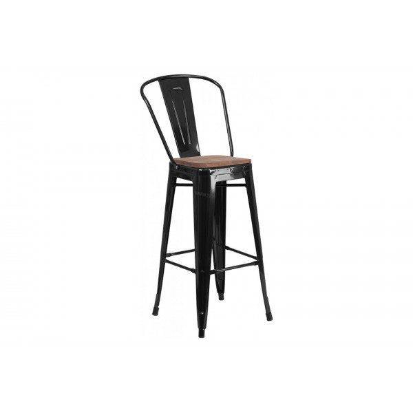 30 inch High Black Metal Barstool with Back and Wood Seat