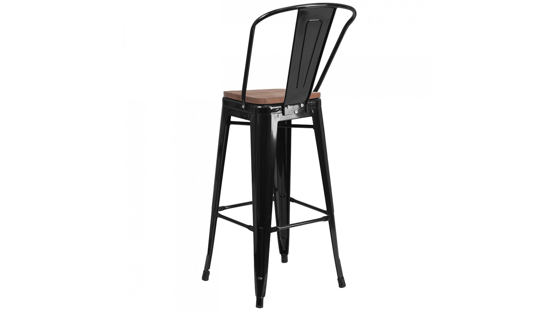 Astonishing 30 Inch Metal Bar Stool With Wood Seat Black Machost Co Dining Chair Design Ideas Machostcouk
