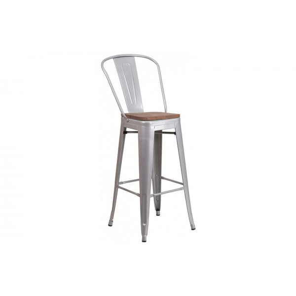 30 inch High Silver Metal Barstool with Back and Wood Seat