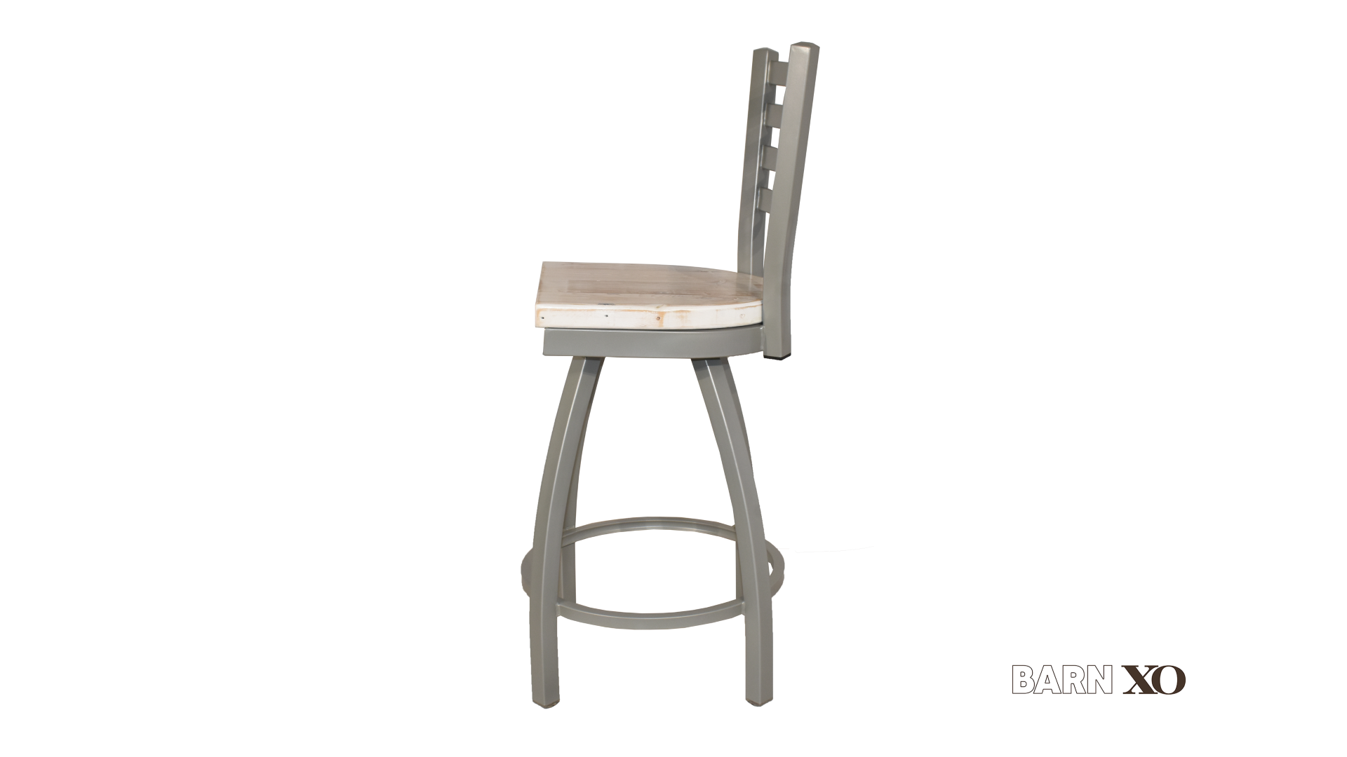 Counter Height Swivel Grey Ladder Back Bar Stool
