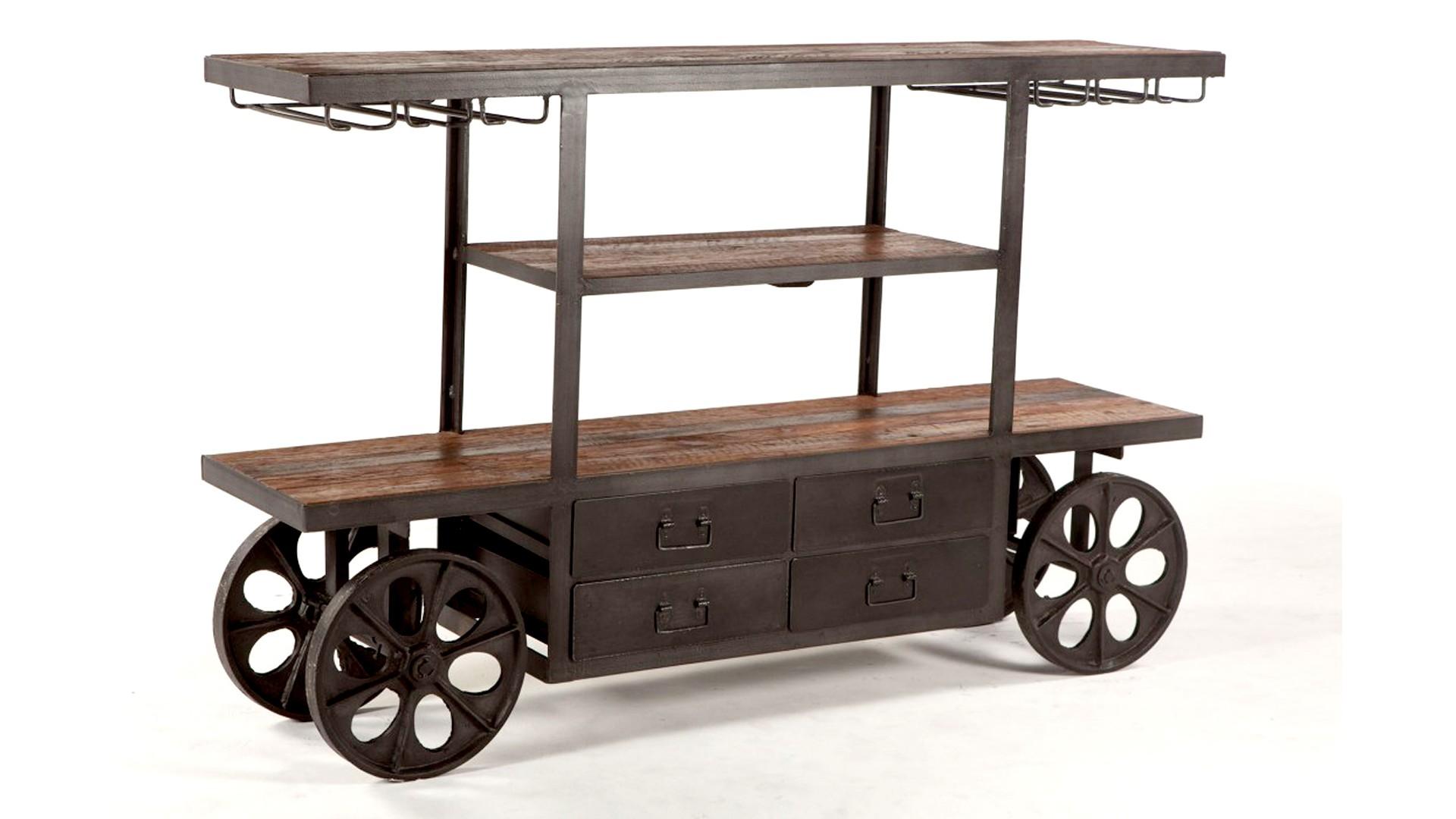Industrial Teak Bar Cart Table 66 inch