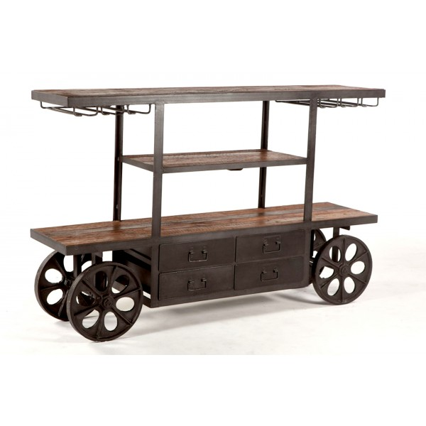 Industrial Teak Bar Cart Table 66 inch