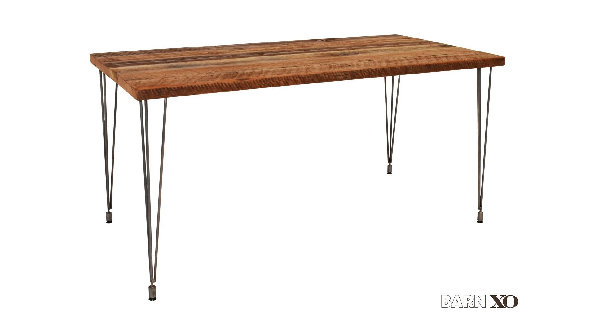 Barn Xo Desk With Leveling Hairpin Legs
