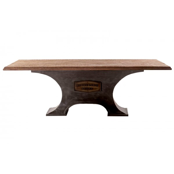 Steel City 90 Inch Antique Oak Table