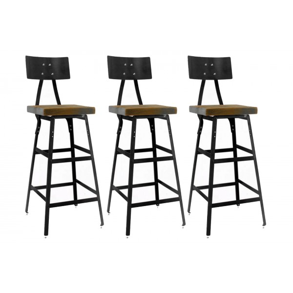 Vintage Industrial Bar Stool (Set of 3)
