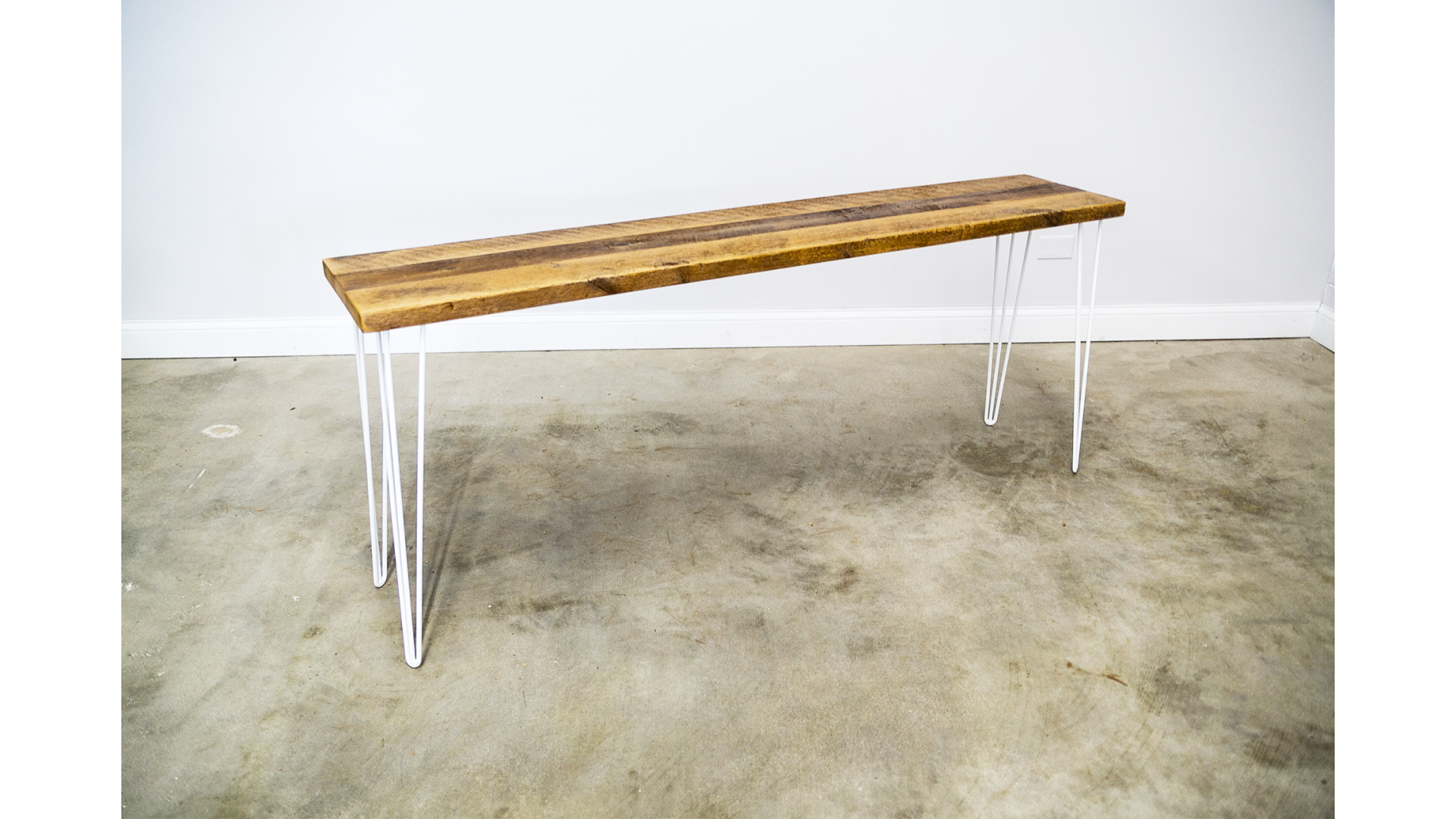 Reclaimed Console Table with Colored Hairpin Legs