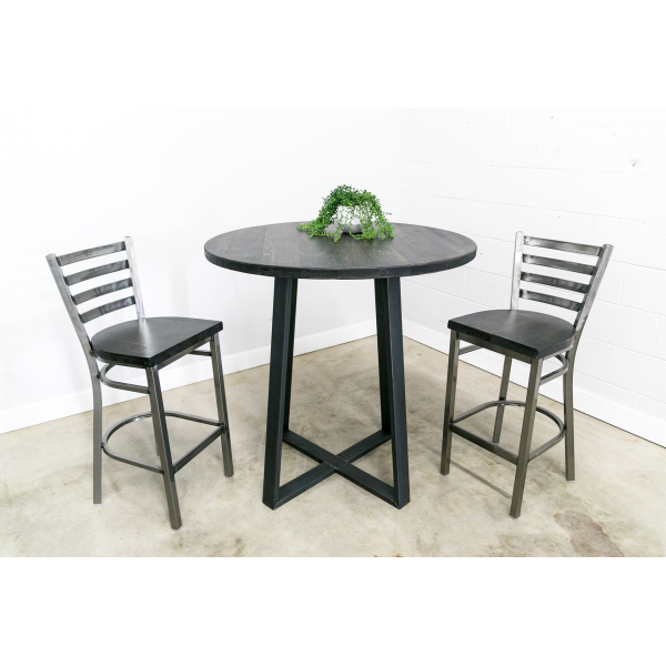 Round Dining Table with Criss-Cross Leg Base (Bar Height)