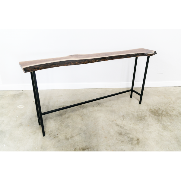 Live Edge Console Table with Square Tubing